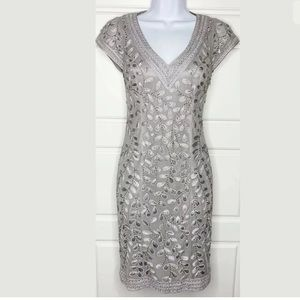 Sue Wong nocturne silver gray cocktail dress